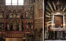 O altar Wiener Neustädter (esq) e a imagem de Maria Pötsch (dir)