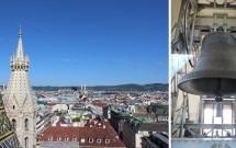 A linda vista de Viena da torre norte e o sino Pummerin