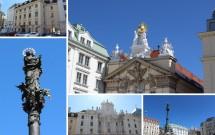Am Hof: Em destaque na foto, a Mariensäule e as esculturas no topo do Bürgerliches Zeughaus. Nas fotos menores, o Palácio Collalto (no alto) e a Capela do Coro dos 9 Anjos (em baixo)