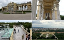 Gloriette e seus detalhes. Abaixo à esquerda, o terraço em 2 níveis. Ao lado, a vista de Schönbrunn e de Viena