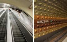 Escada rolante (íngreme) e a plataforma da estação Muzeum