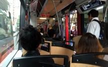 Dentro do Tram de Praga