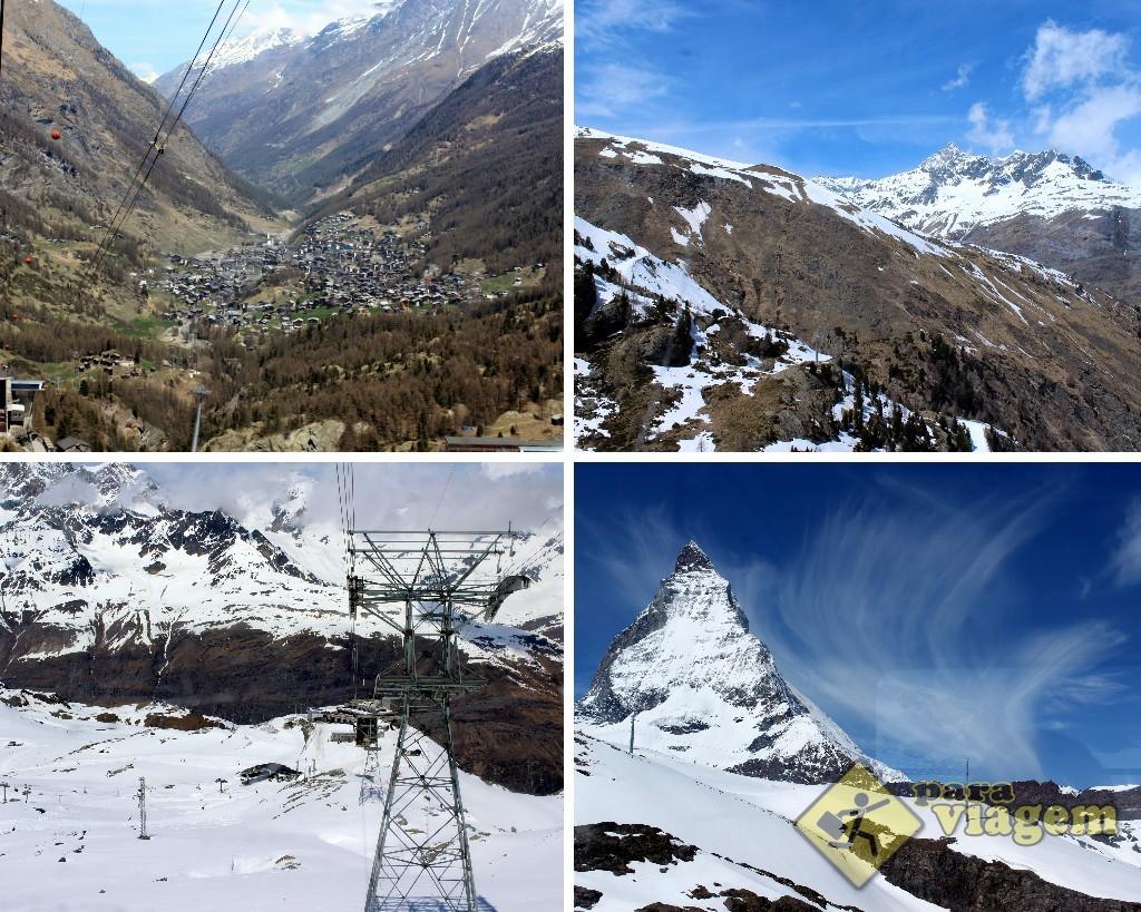 A vista do passeio vai ficando nevada ao longo da subida. No alto à esq.: Zermatt vista do alto. Abaixo à dir.: o Matterhorn visto de pertinho.