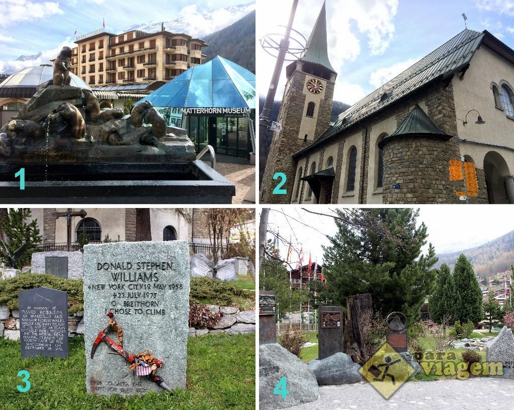 1) Fonte da Marmota e o Matterhorn Museum; 2) Igreja St. Mauritius; 3) Cemitério dos Alpinistas; 4) Memorial aos Alpinistas e Guias de Alpinismo.