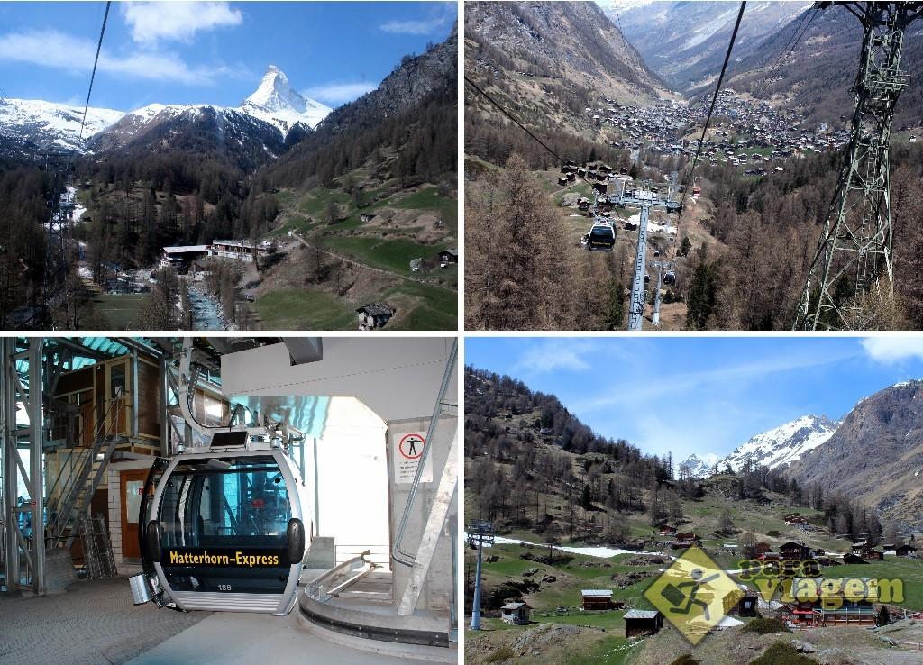 ZERMATT até FURI – Passeio no teleférico tipo cabine e com uma bela vista da cidade (foto direita superior) e do Matterhorn