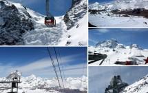 TROCKENER STEG até MATTERHORN GLACIER PARADISE – Passeio de teleférico tipo gôndola (mais uma vez) e a belíssima vista nevada ao redor. À esq (inferior) o Matterhorn visto na mesma altura. À dir (inferior) a estação do teleférico sobre o Klein Matterhorn