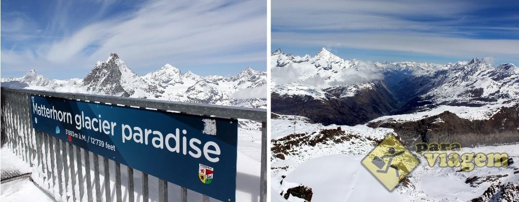 Belíssima vista do mirante do Matterhorn Glacier Paradise (o famoso pico está na foto da esq)