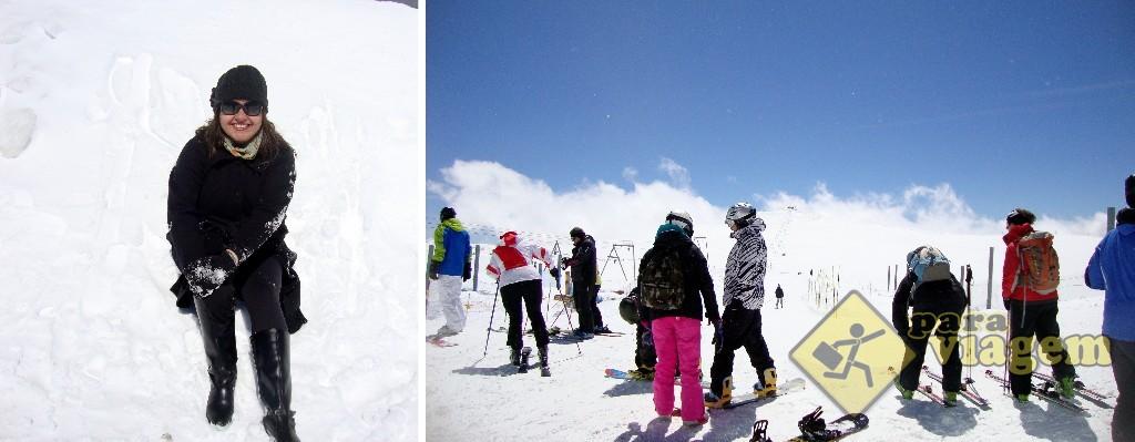 Sentada na neve (depois de ter deitado e rolado, literalmente) e os frequentadores se preparando para esquiar, em plena primavera!
