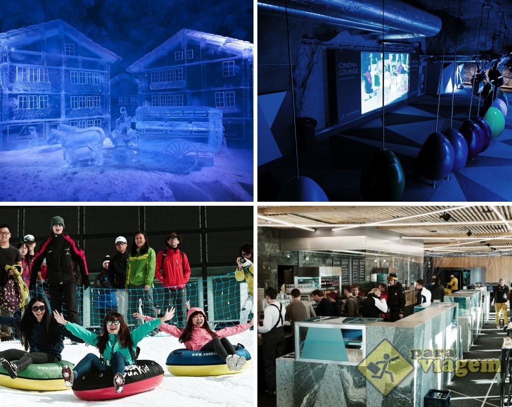 EM CIMA: Glacier Palace (esq) e o Cinema Lounge (dir). EM BAIXO: Snow-Tubing (esq) e o restaurante do mirante (dir).