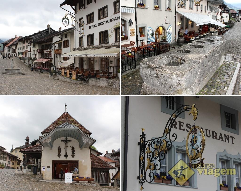 EM CIMA: O poço no meio da cidade (esq) e a antiga mesa de medidas (dir). EMBAIXO: fachada do Le Calvaire (esq) e um dos letreiros de ferro da cidade (dir)