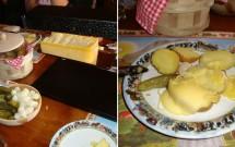 Raclette: derretendo no aparelho (esq) e despejado sobre batatas (dir)