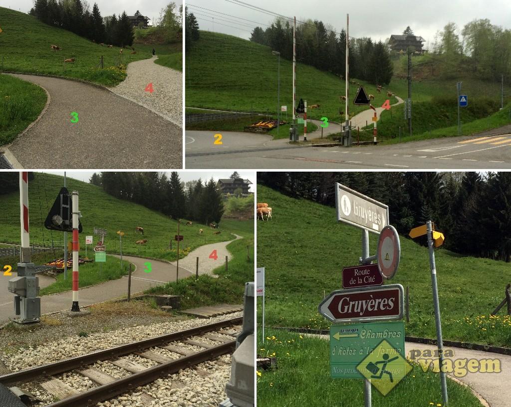 """Os acessos vistos de frente. Note, na foto inferior direita, que há 2 placas escrito """"Gruyères"""" indicando direções opostas. Qual escolher?"""