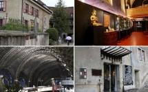 EM CIMA: o Tibet Museum. EMBAIXO: HR Giger Bar (esq) e o HR Giger Museum (dir)