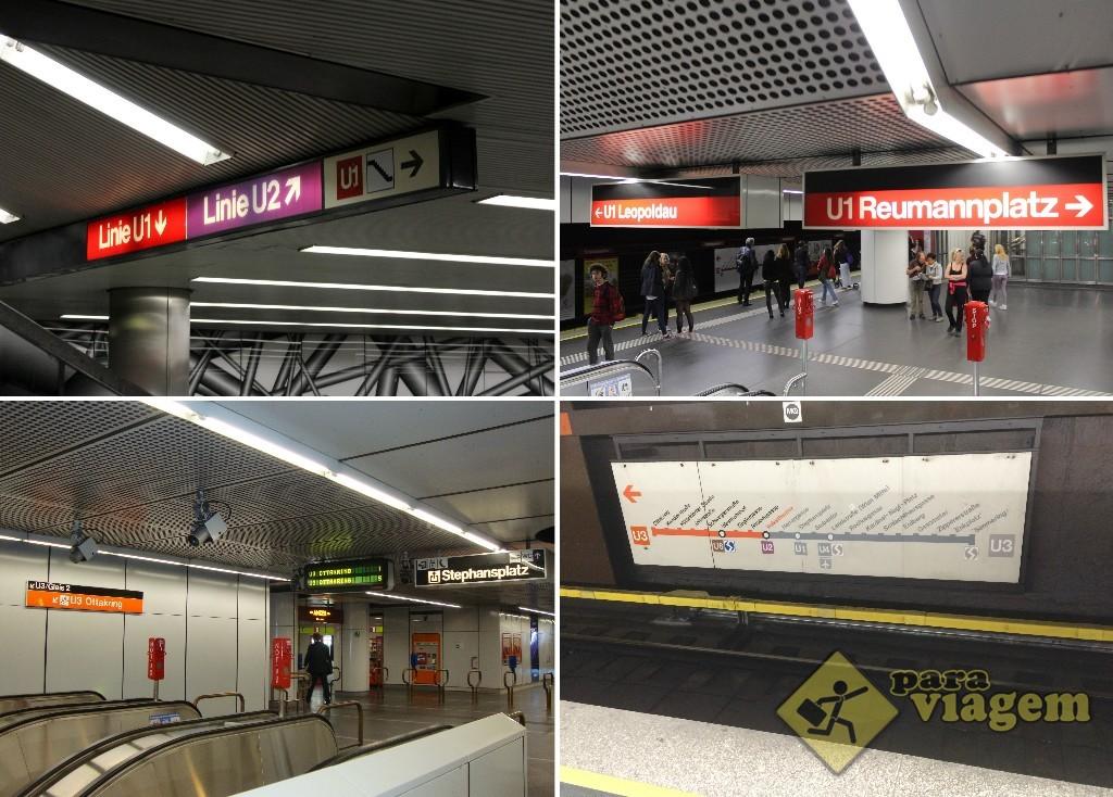 O metrô de Viena é super bem sinalizado. Basta saber para onde você quer ir. Na foto direita inferior, uma placa com o itinerário da linha exposto na plataforma do metrô