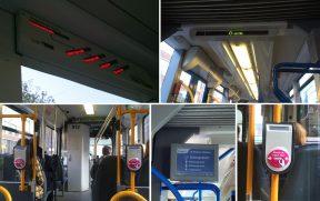 Há painéis que informam os próximos pontos do itinerário do Tram em questão. Em destaque também, o leitor rosa onde você deve passar seu OV-Chipkaart
