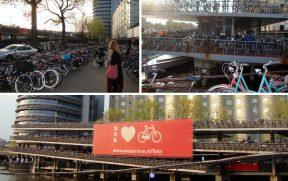 Há uma quantidade de absurda de bicicletas em Amsterdam. Nessa imagem, há um estacionamento delas, pertinho da Estação Amsterdam Centraal