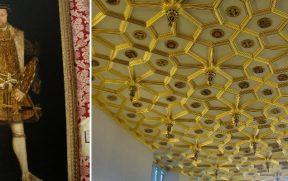 Painel com a foto mais famosa de Henrique VIII (esq) e o teto dourado da sala anexa ao Great Hall (dir)
