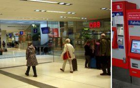 ESQ: Estação de Salzburgo. Veja a loja da ÖBB à direita e as máquinas lá atrás, na extrema esquerda desta foto. DIR: Detalhe da máquina de comprar os bilhetes