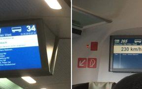 Monitor com as próximas paradas (ESQ) e a velocidade do trem (DIR)