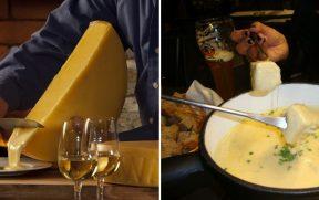 Raclette (esq) e fondue de queijo (esq)