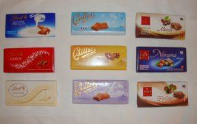 Chocolates suíços: Lindt (esq), Cailler (centro) e Frey (dir)