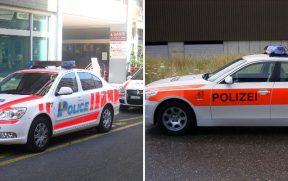 Viatura da polícia em Genebra (esq) e em Zurique (dir)