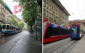 O Tram (ou bonde) é um dos transportes mais usados nas cidades suíças. Nesta foto, vemos exemplares em Zurique (esq) e em Berna (dir)