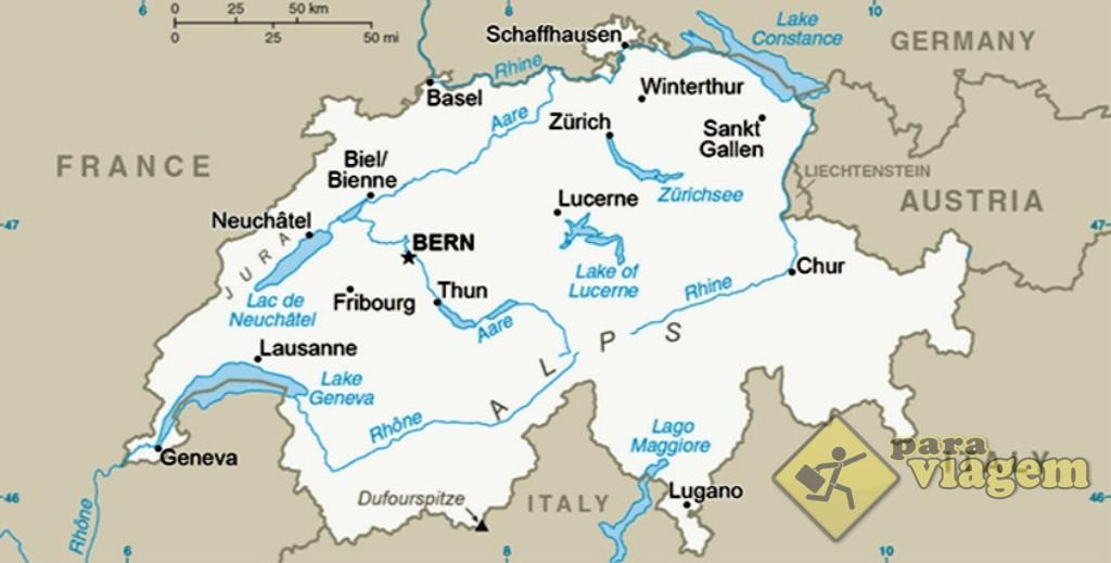 A Suíça é vizinha a 4 países