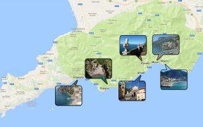 Mapa da Costa Amalfitana na Itália