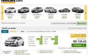 Comparação de Preços e Modelos de Carros na RentCars