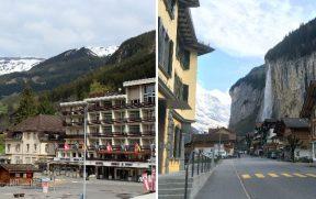 Grindelwald (esq) e Lauterbrunnen (dir)