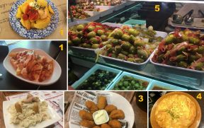 TAPAS: 1) Patatas Bravas (duas versões); 2) Ensalada Rusa; 3) Croquetas; 4) Tortilla de Patatas; 5) Azeitonas recheadas.