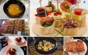 TAPAS: 1) Gazpacho; 2) Tostas; 3) Bombetas; 4) Pinchos; 5) Gambas Alioli; 6) Pan con Tomate