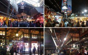 EM CIMA: Mercado La Boquería em Barcelona. EMBAIXO: Mercado de San Miguel em Madrid