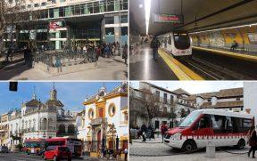 EM CIMA: Metrô de Madrid. EMBAIXO: Ônibus em Sevilha (esq) e em Granada (dir)