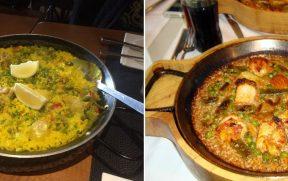 Paella de Sevilha (esq) e a de Barcelona (dir)