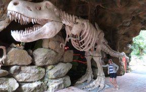 Posando ao lado do Esqueleto de Dinossauro