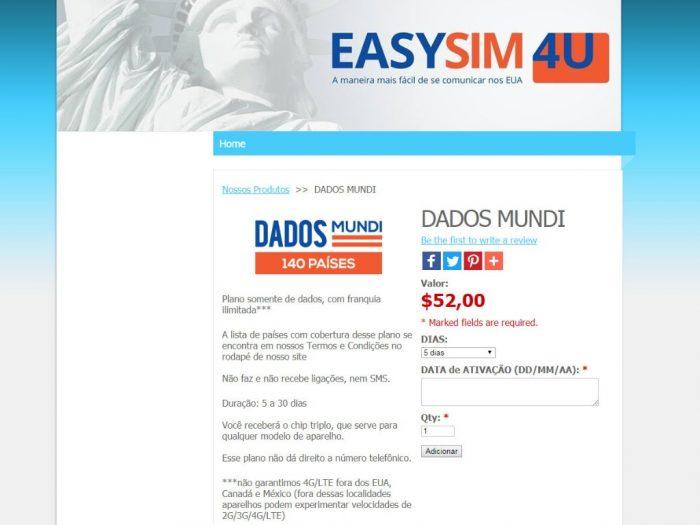 Formulário para o chip T-Mobile da EasySim4U (que oferece somente internet)