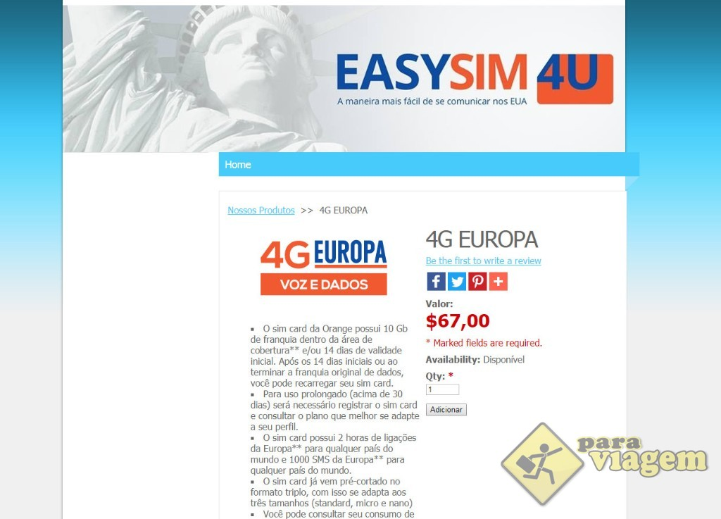 Formulário para o chip Orange da EasySim4U (que oferece internet + ligações)
