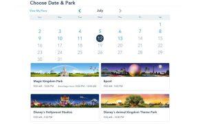 Passo 4: Escolher a data da vista e o parque