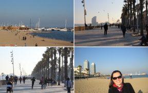 A agradável orla de Barcelona