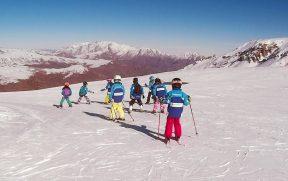 Crianças Esquiando no Valle Nevado