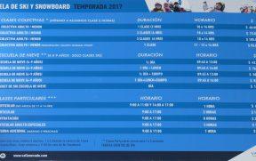 Tabela de Preços para a Escola de Esqui