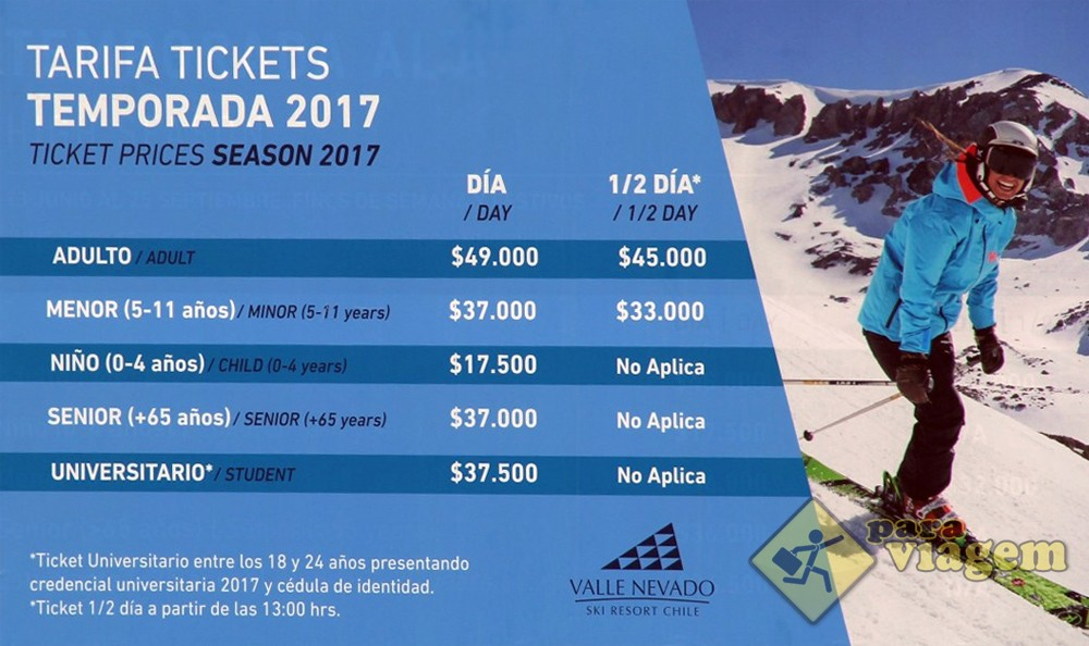 Tabela de valores dos tickets para viagem for Piscina u de chile valores 2017