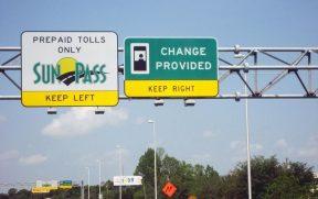 Sinalização de pedágio nas estradas da Flórida