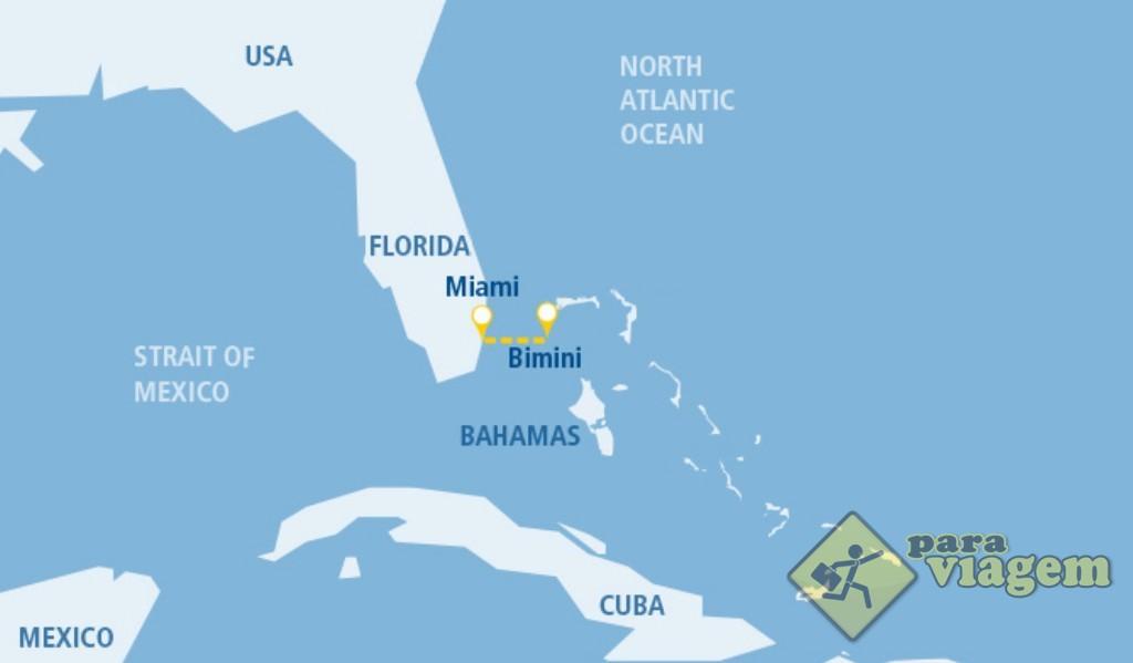 Mapa da Flórida e Bahamas