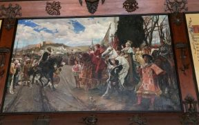 Reis Católicos recebendo a chave de Granada e Alhambra do Rei Nasrida
