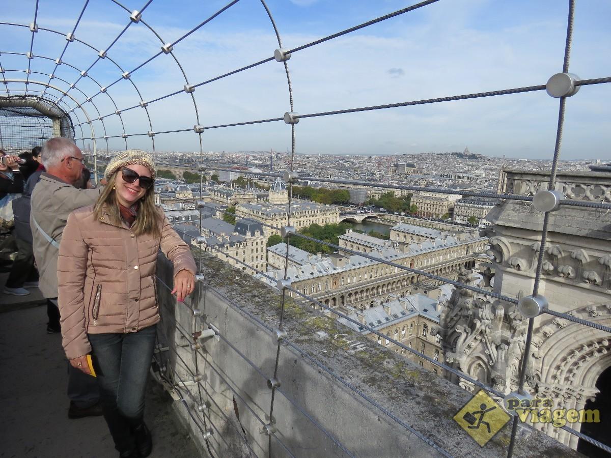 Curtindo a vista no Alto da Torre de Notre Dame
