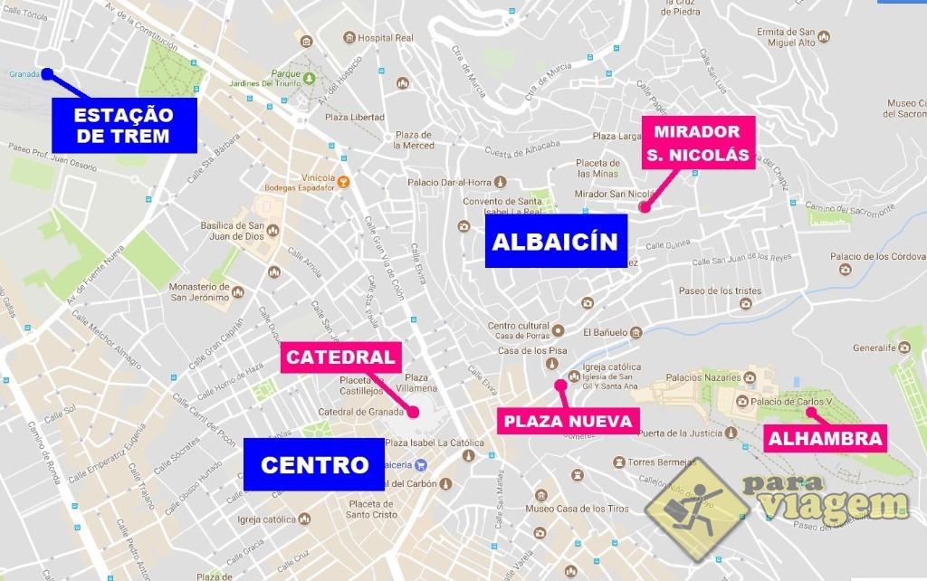 Bairros onde se hospedar em Granada e alguns pontos de interesse