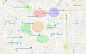 Mapa de Milão por regiões
